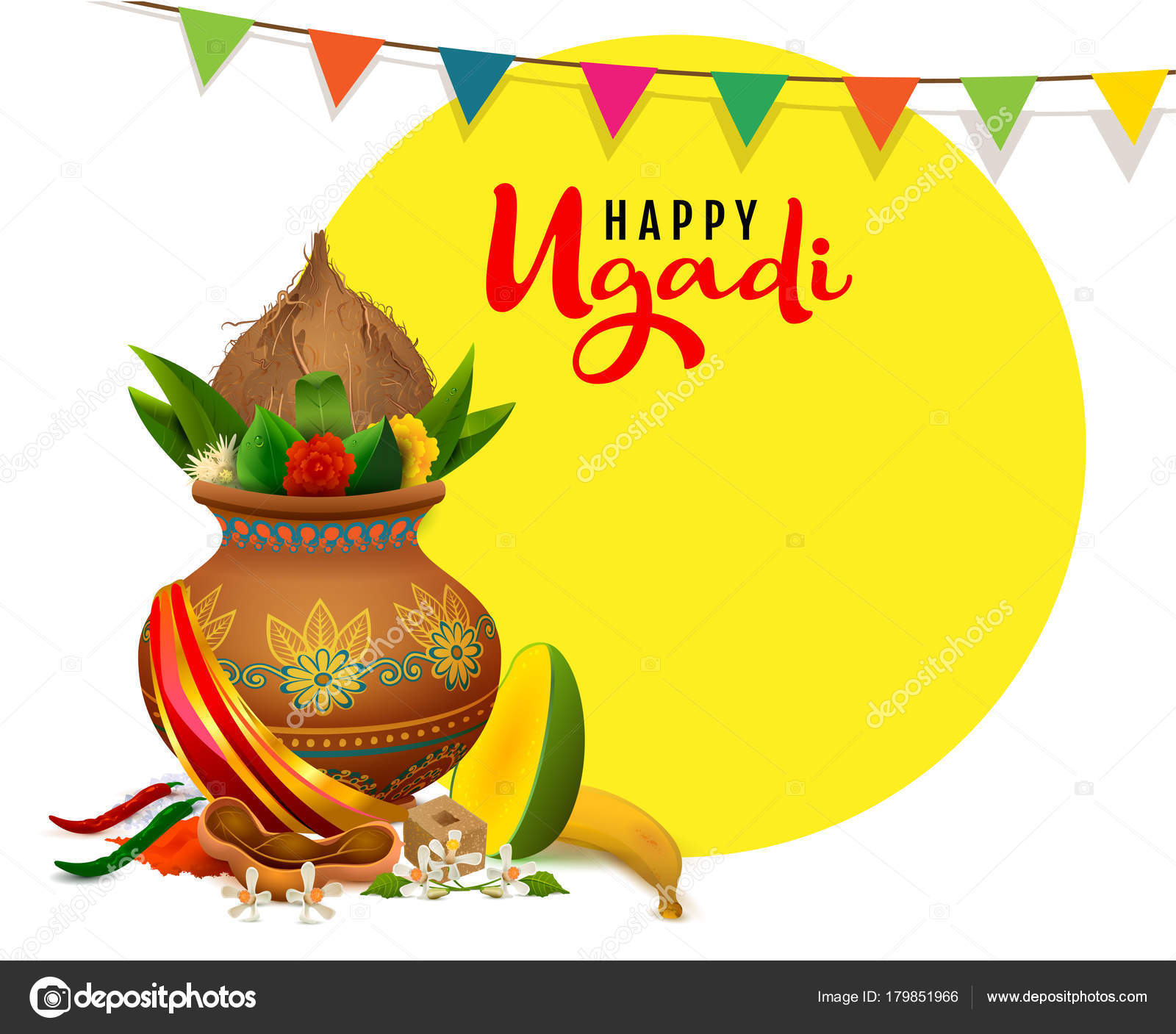 Happy ugadi greeting card text indian holiday traditional food in happy ugadi greeting card text indian holiday traditional food in pot stock vector kristyandbryce Images