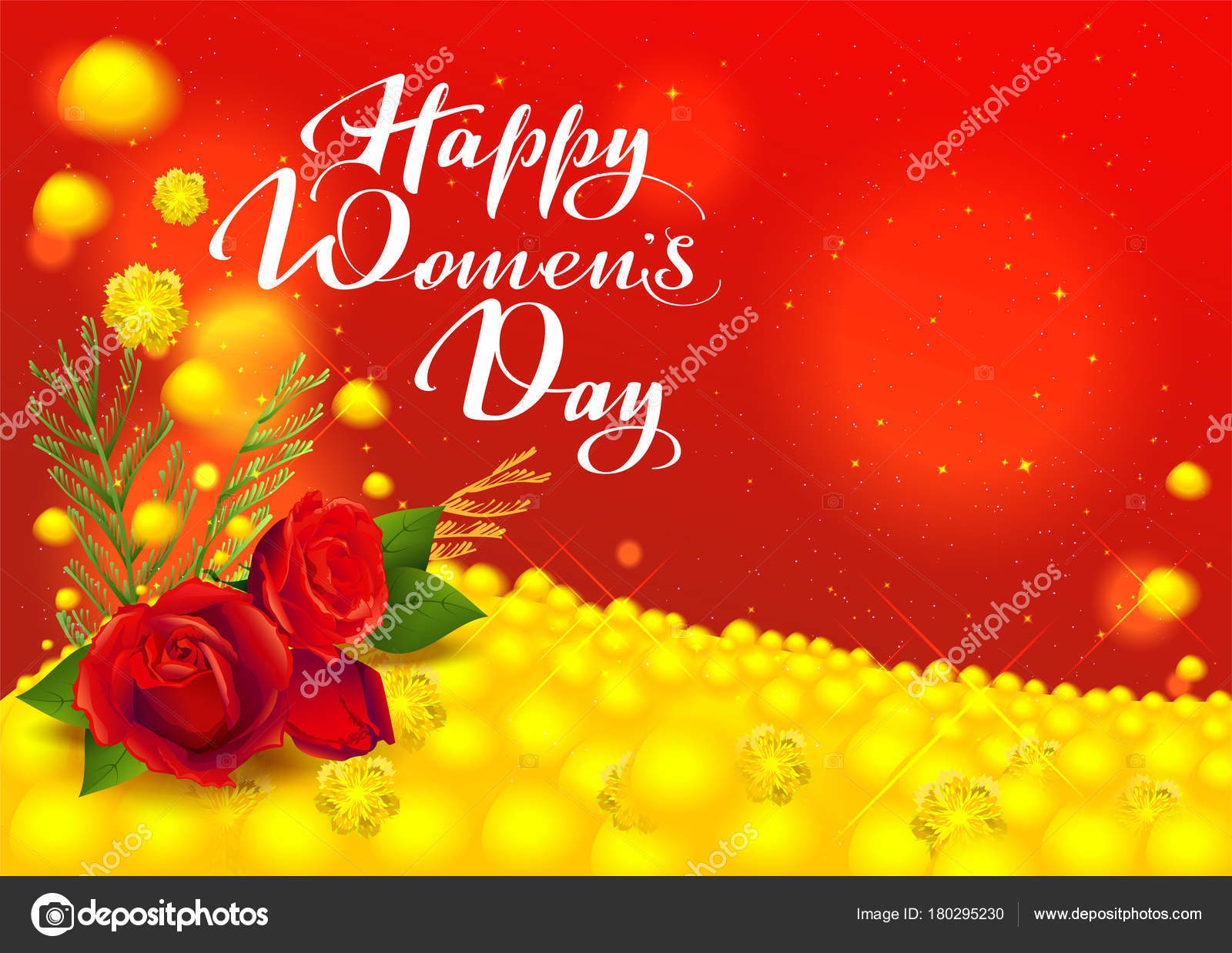 Happy Womens Day Greeting Card Flowers Red Rose And Yellow Mimosa