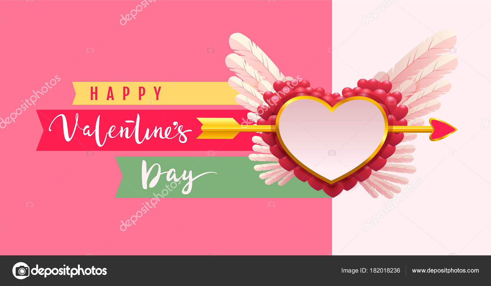 Happy Valentines Day Text Greeting Card Arrow Pierced Heart Shape