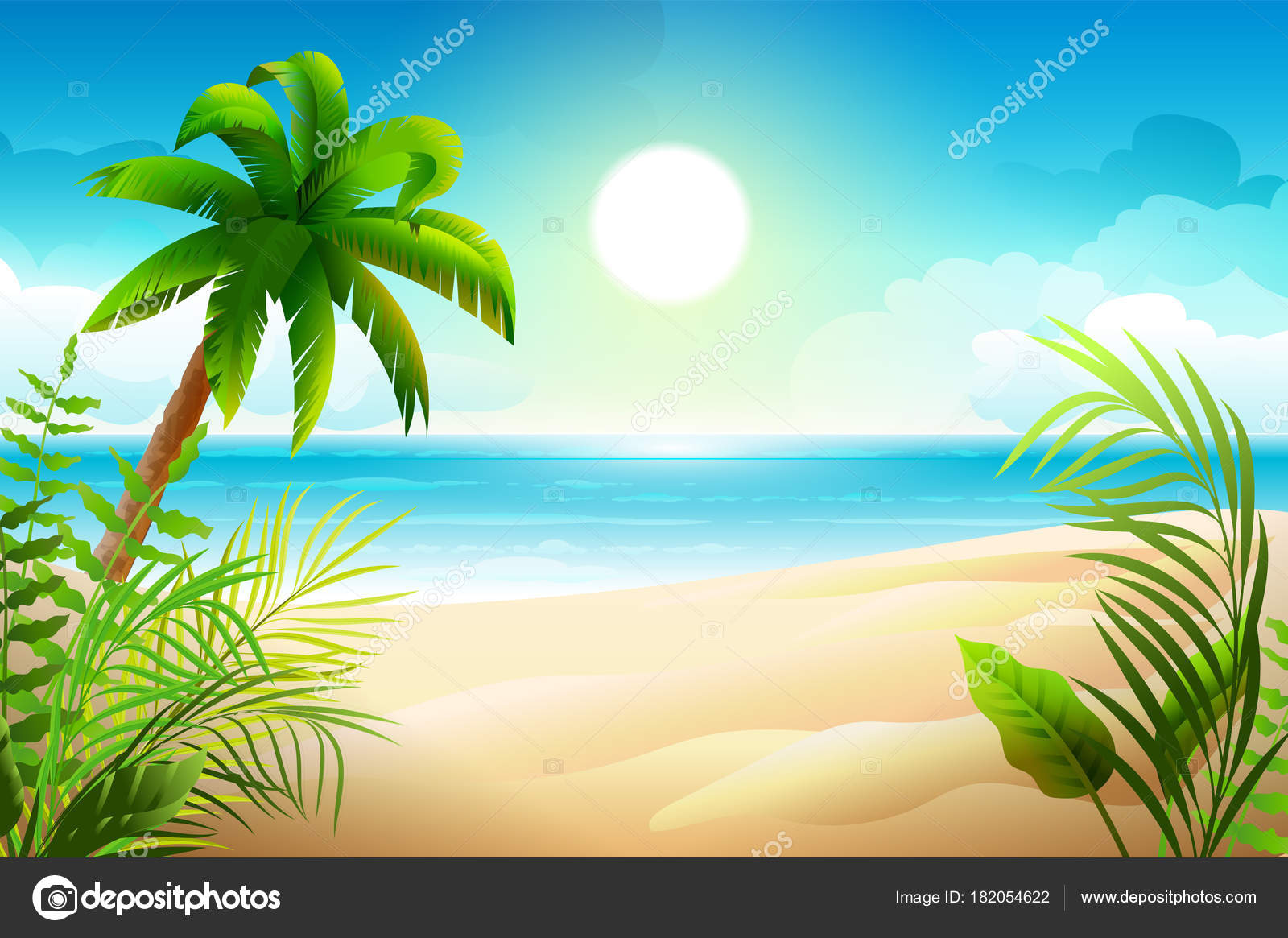 Sunny day on tropical sandy beach palm trees and sea paradise sunny day on tropical sandy beach palm trees and sea paradise holidays vector cartoon nature illustration vector by orensila voltagebd Choice Image