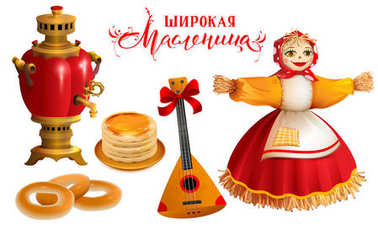Object and accessory for Russian holiday Maslenitsa. Straw Scarecrow, samovar, pancakes, balalaika and text for greeting card