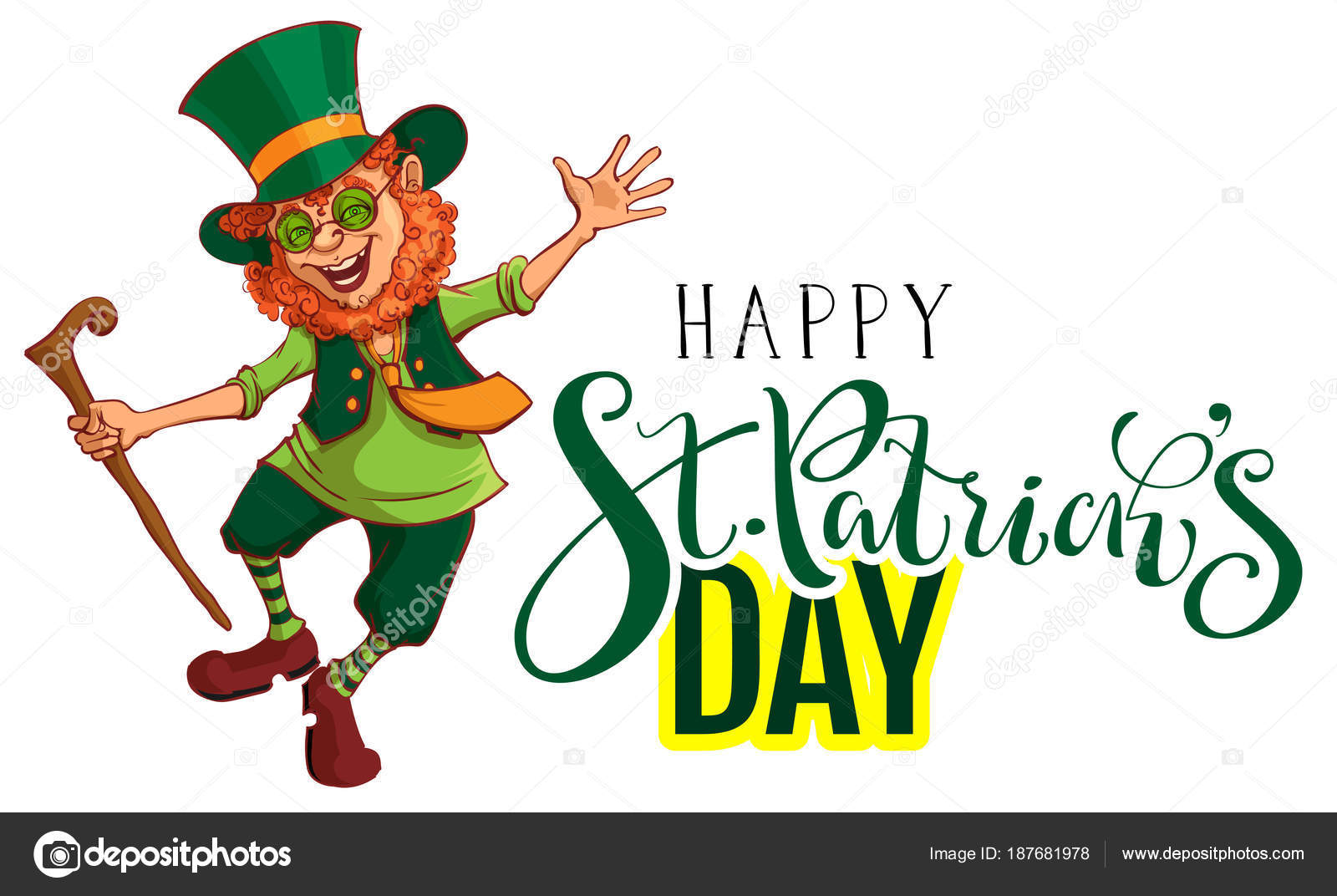 Glücklich St. Patrick Tag Text Grußkarte. Rot lustige Kobold tanzt ...