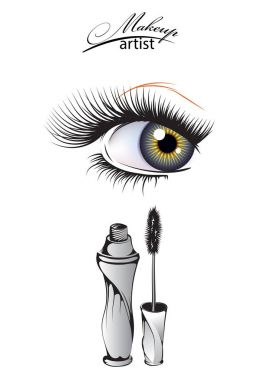 Makeup artist. Female eyes with long eyelashes and a bottle of m