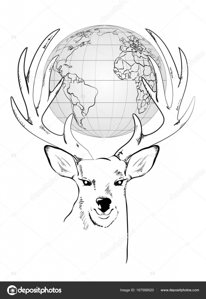 Gl で大きな角を持つ鹿の頭のベクトル イラスト ストックベクター