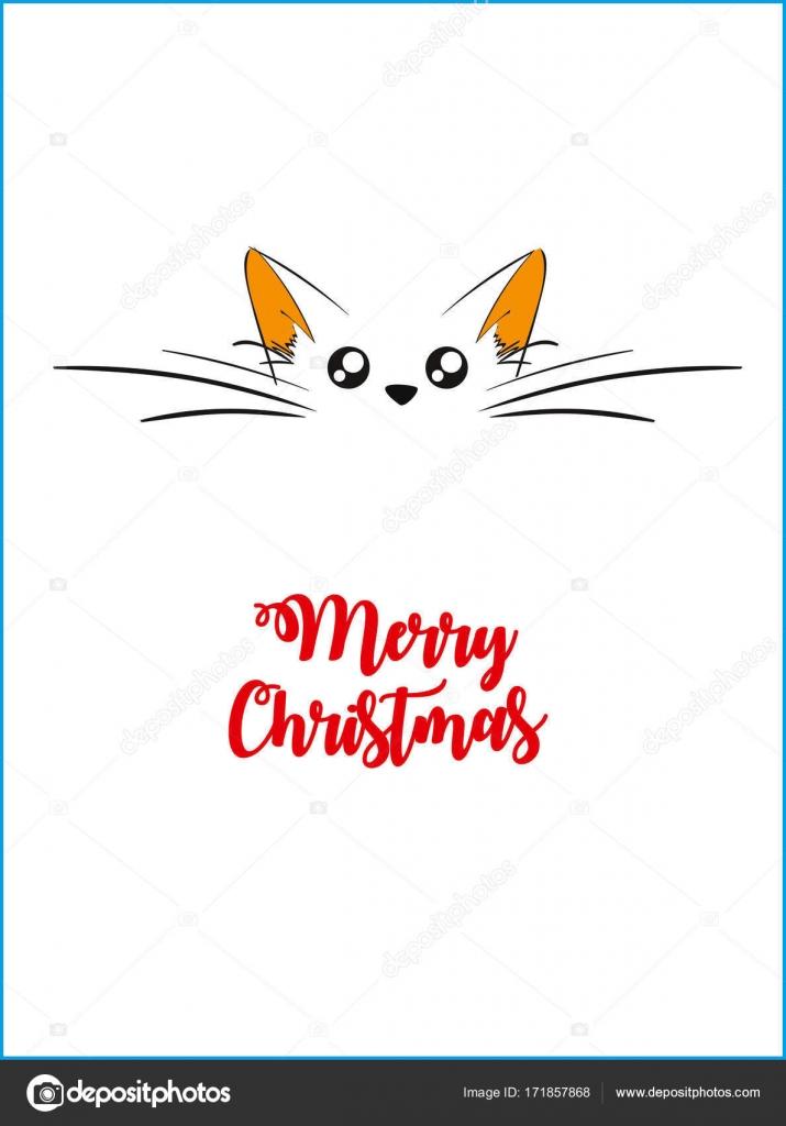 クリスマス猫白い背中に猫顔のベクトル イラスト ストックベクター