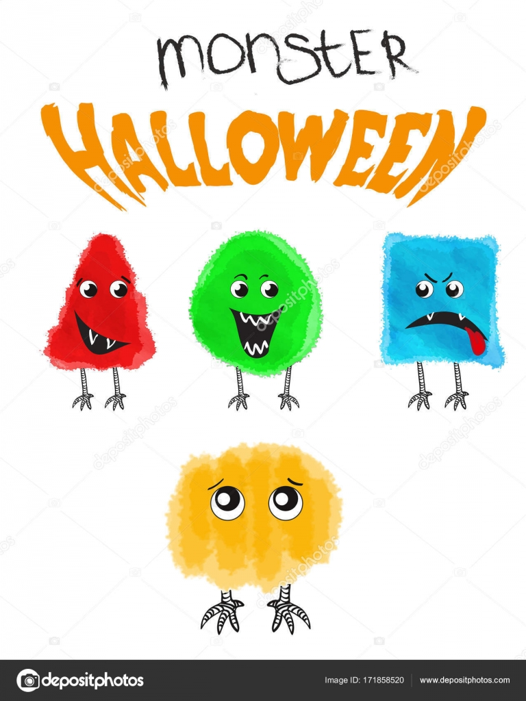 set of cute halloween monsters vector illustration stock vector