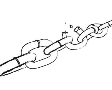 Sketch. Broken chain. Burst chain on white background