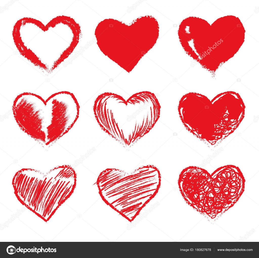set of red grunge hearts vector heart shapes stock vector ice