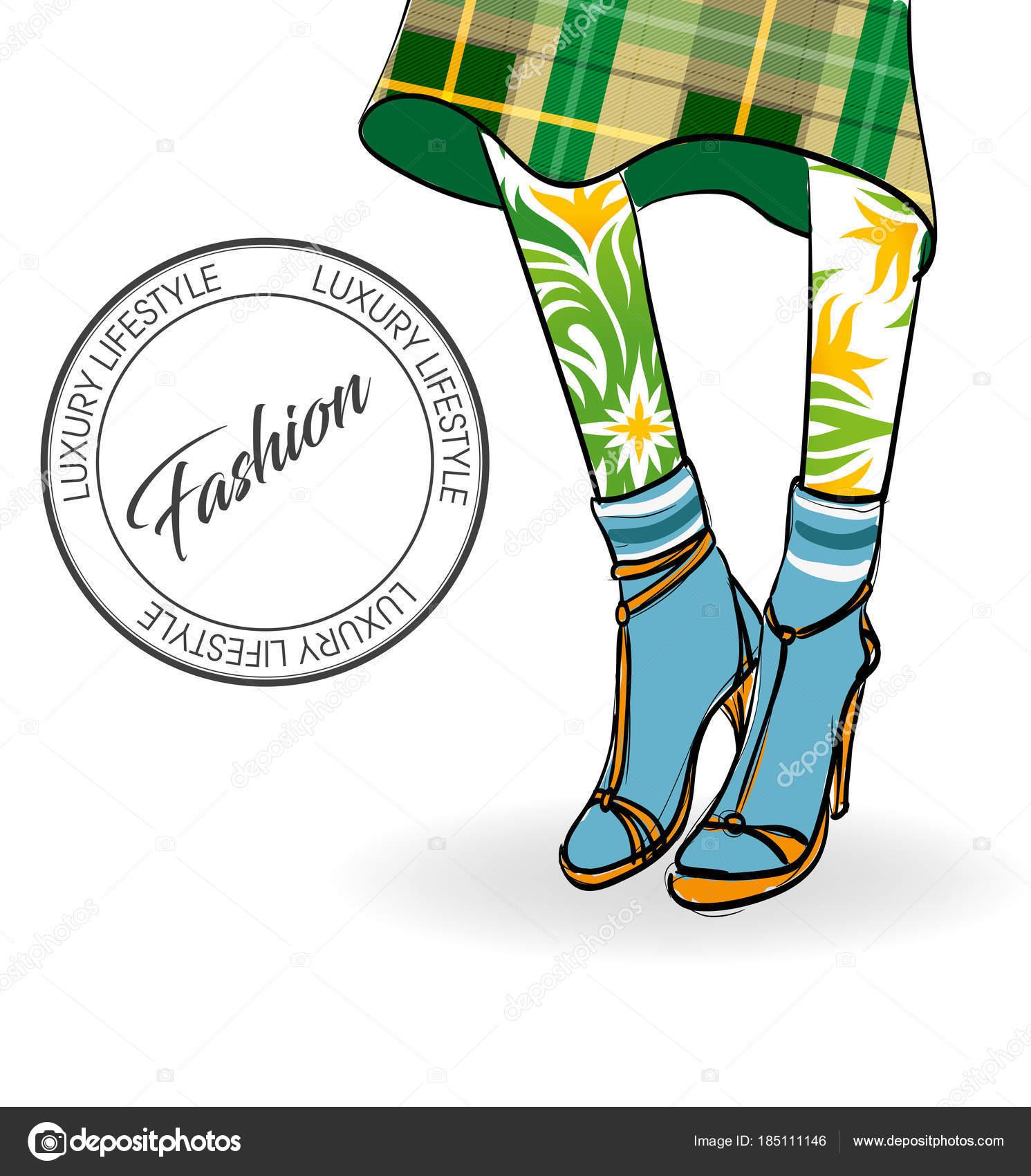 ハイヒールでベクトル少女。ファッション イラスト。女性の足 — ストック