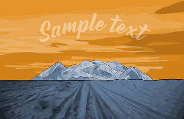Mountain. Vector illustration of a sunset in a deserted landscap