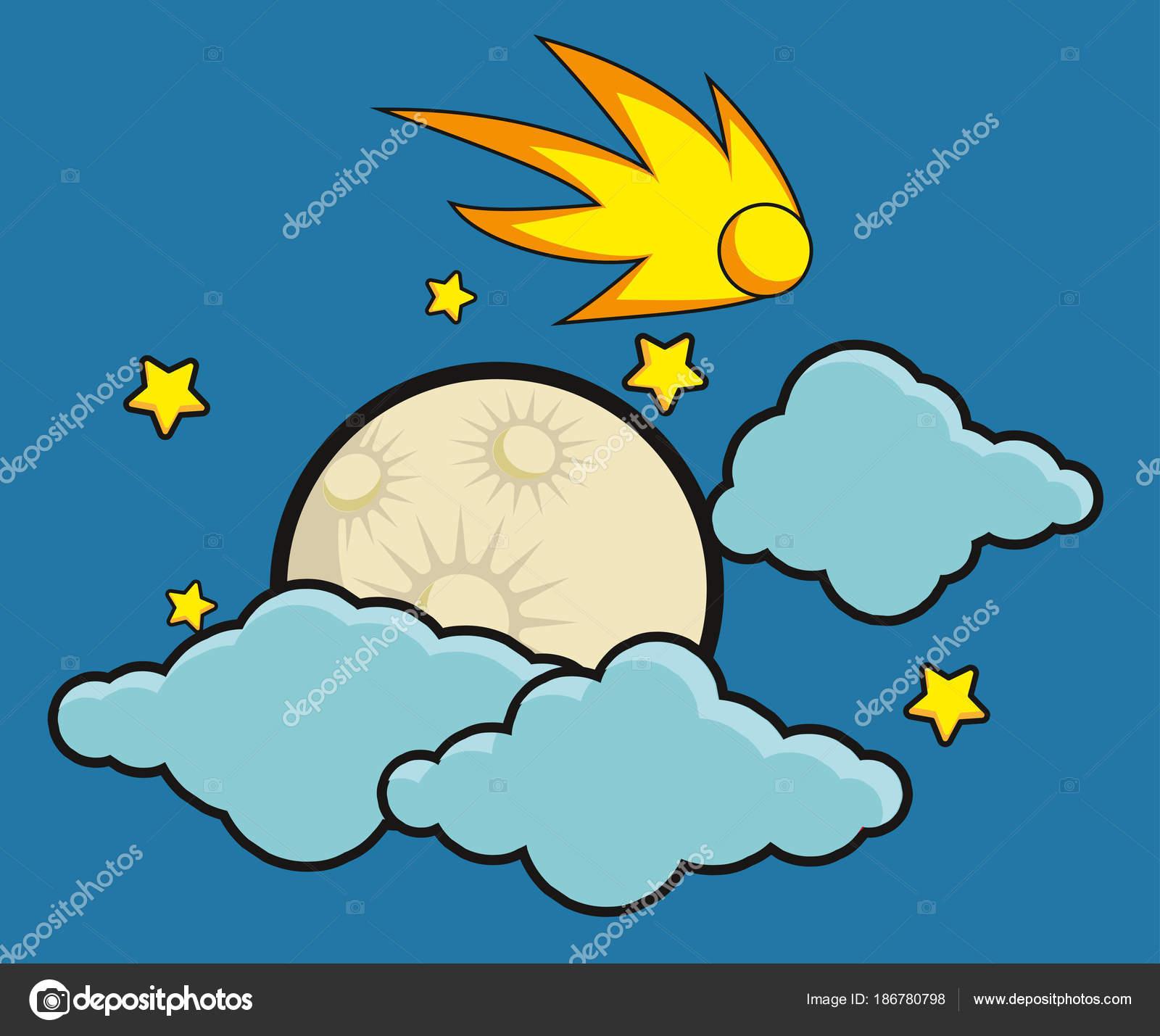 Estrellas Luna y cometa en la medianoche. Ilustración de estilo de ...