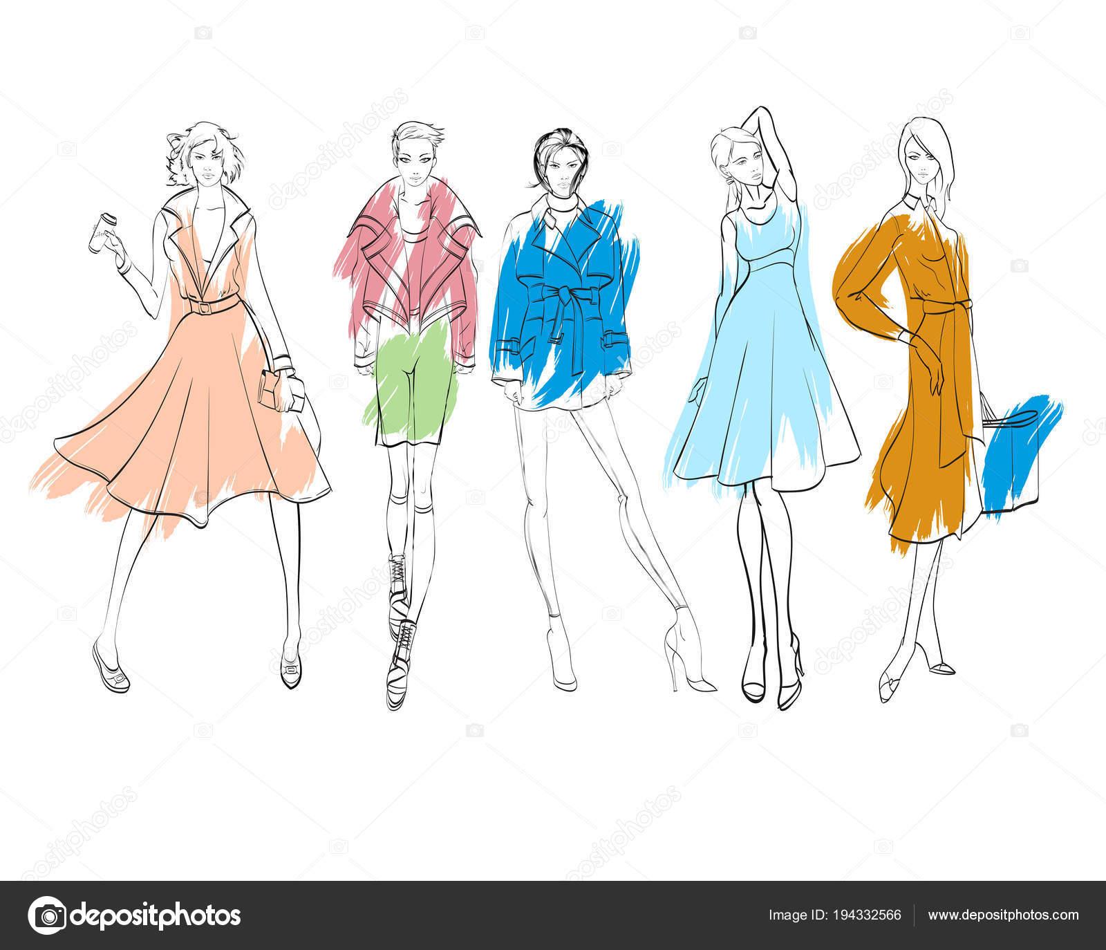 a86ec6bdb17b Illustrazione di moda. Modelli di vestiti alla moda. Moda ragazze insieme.  Schizzo. Ragazze in abito