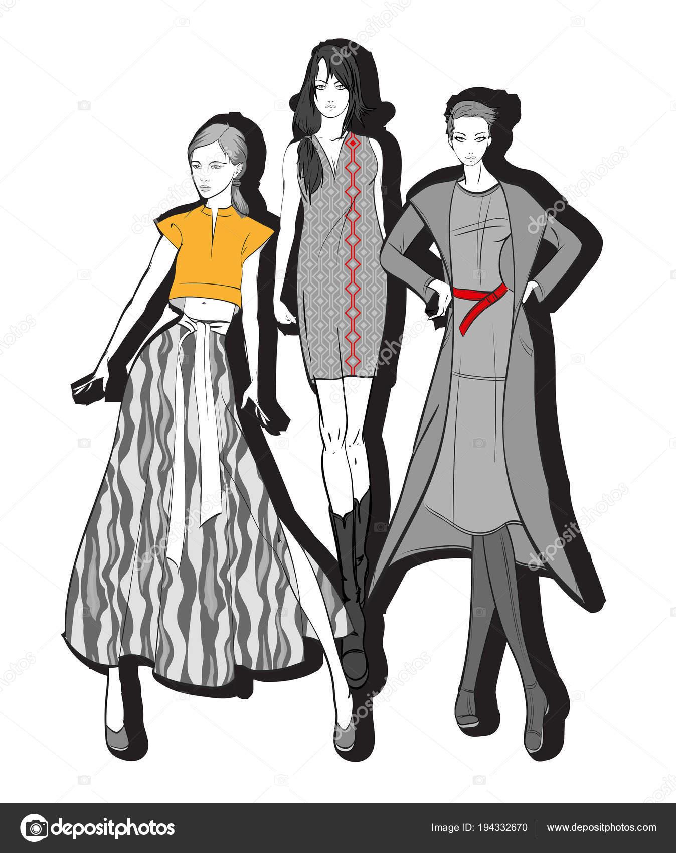 70bbedc0a536 Illustrazione di moda. Modelli di vestiti alla moda. Moda ragazze insieme.  Schizzo. Ragazze in abito e cappotto — Vettoriali di ...