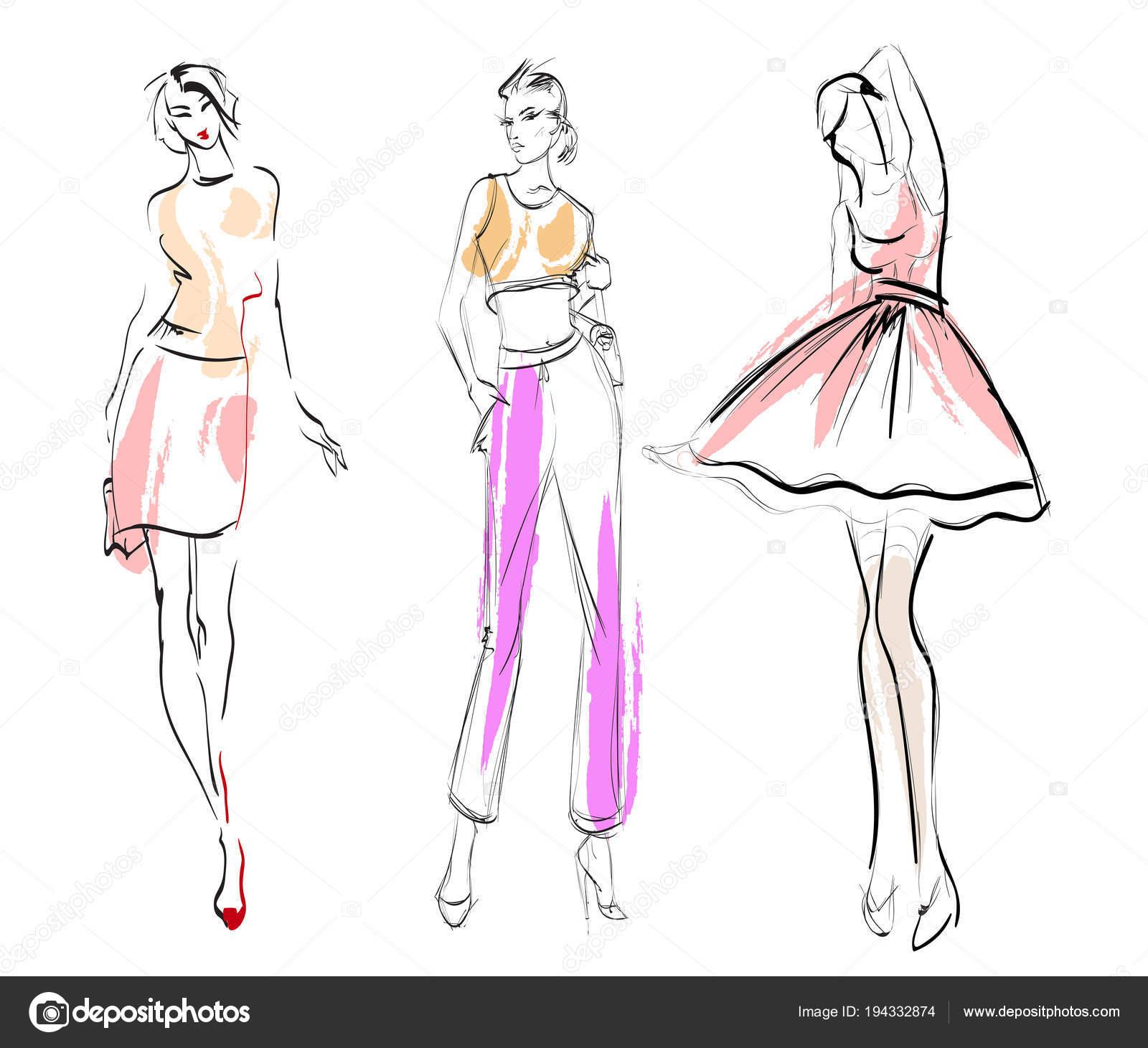 b01a50109008 Illustrazione di moda. Modelli di vestiti alla moda. Moda ragazze insieme.  Schizzo. Ragazze in abito e vestito — Vettoriali di ...