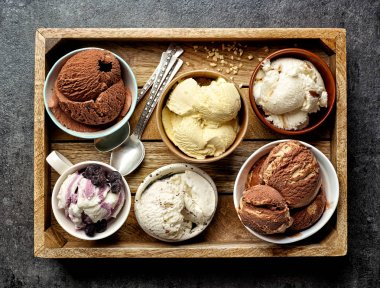 bowls of various ice creams