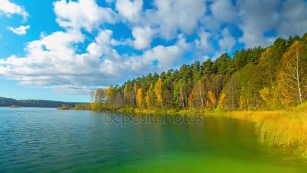 Podzimní les a jezero, 4 k Time-lapse Panorama