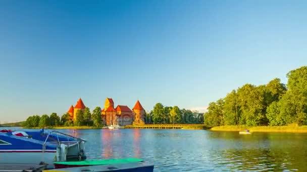 Trakai Castle, Lithuania, 4K time-lapse in motion