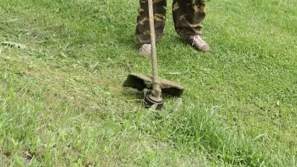 Muž seká trávu na zahradě