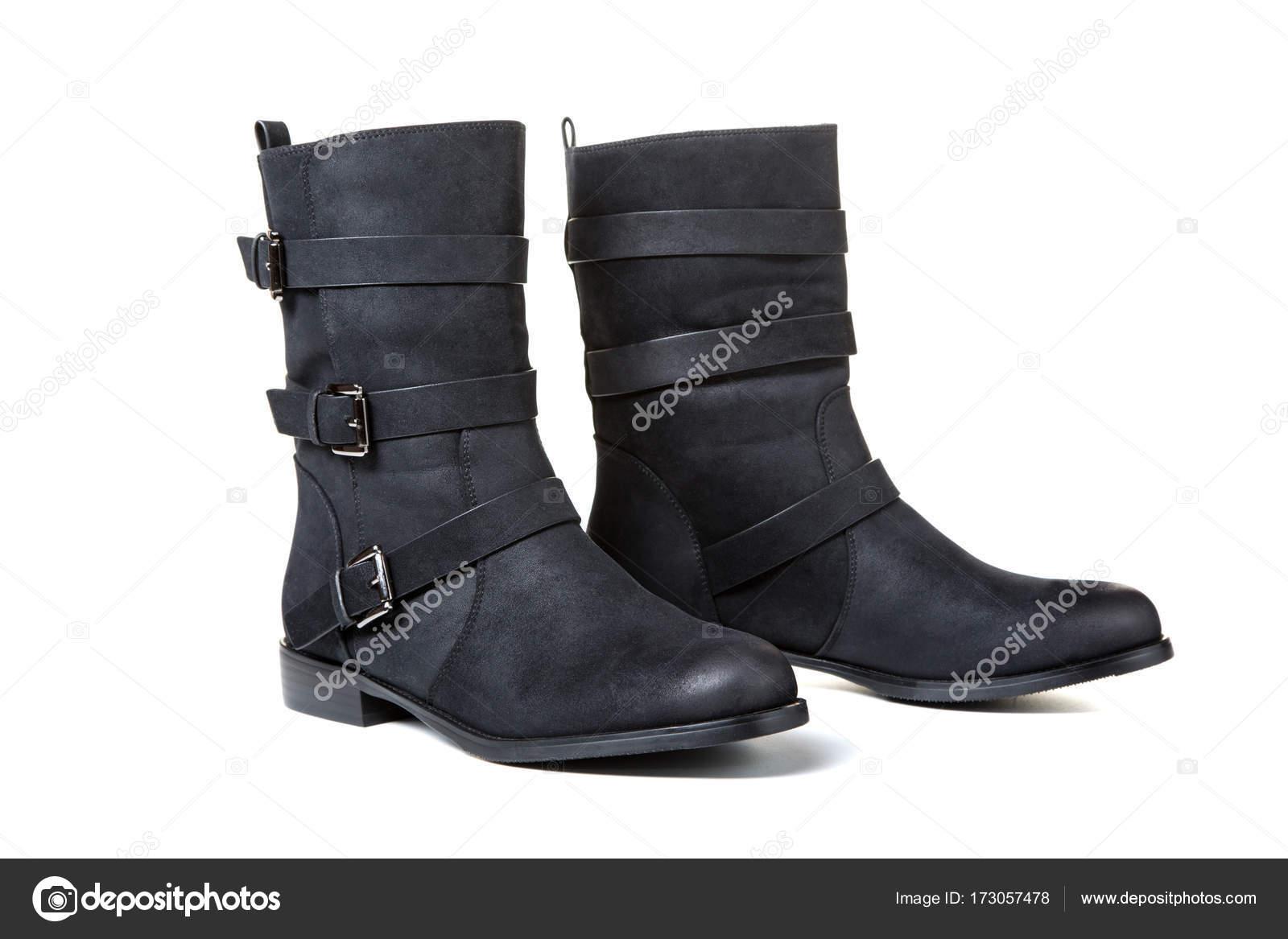 Schwarze Frauen Stiefel Isolierten Auf Weißen Hintergrund