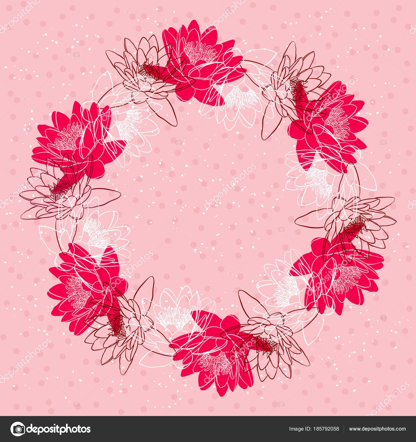 睡蓮花 ベクトル イラストの花輪を持つ装飾花の背景 ストックベクター