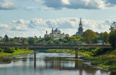 Torzhok,  town in Tver Oblast, Russia. View on Novotorgsky Borisoglebsky Monastery  August 6, 2019