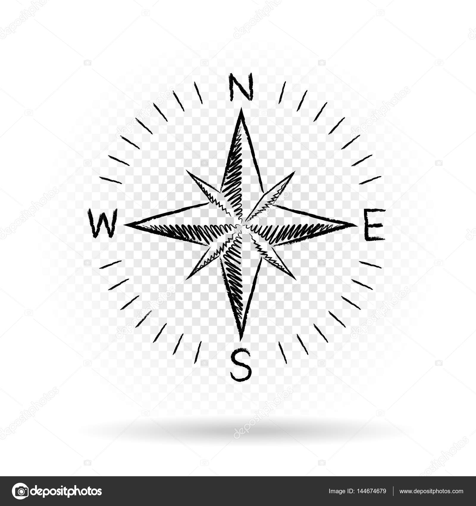 Drawing compass directions dark — Stock Vector