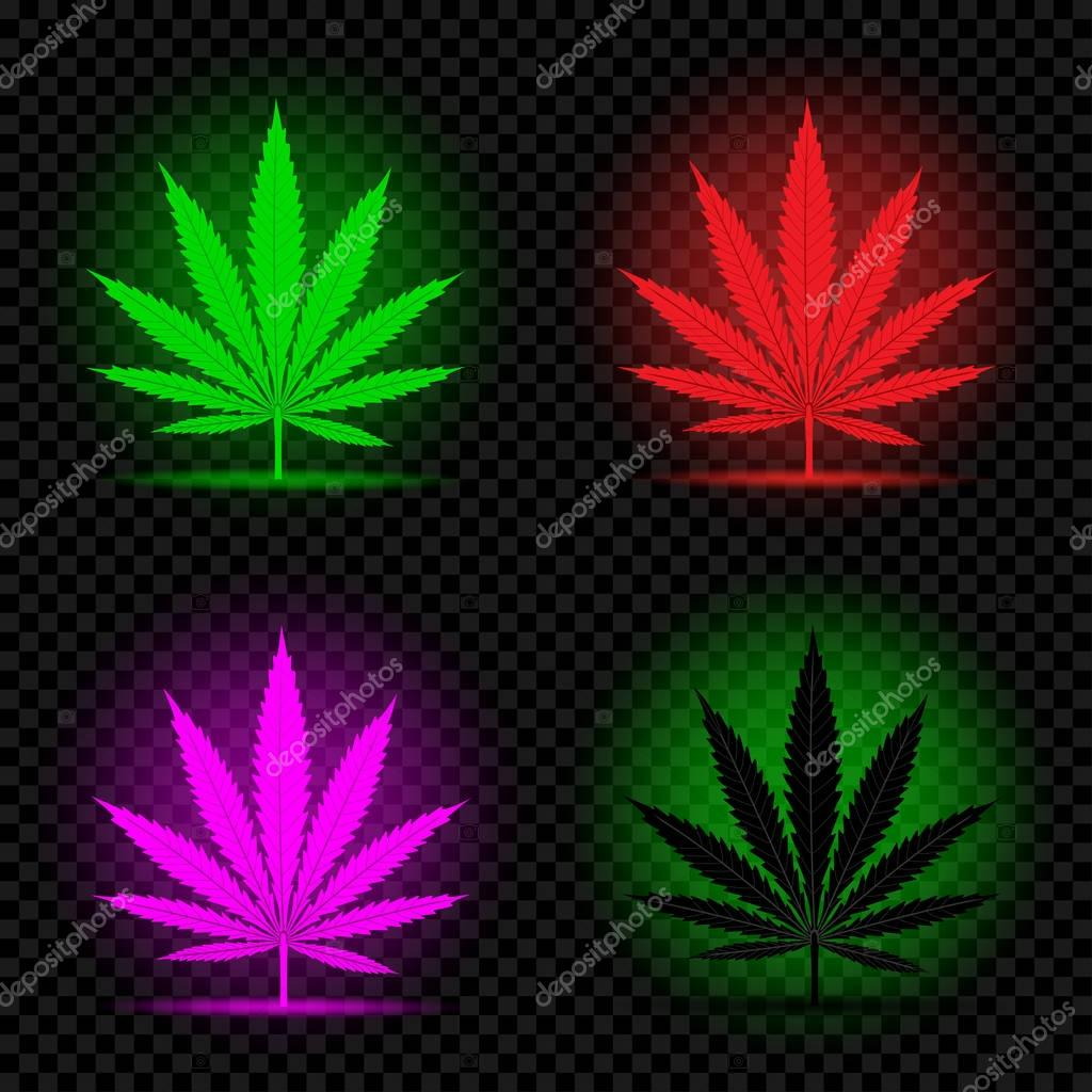neon hemp leaf icon set