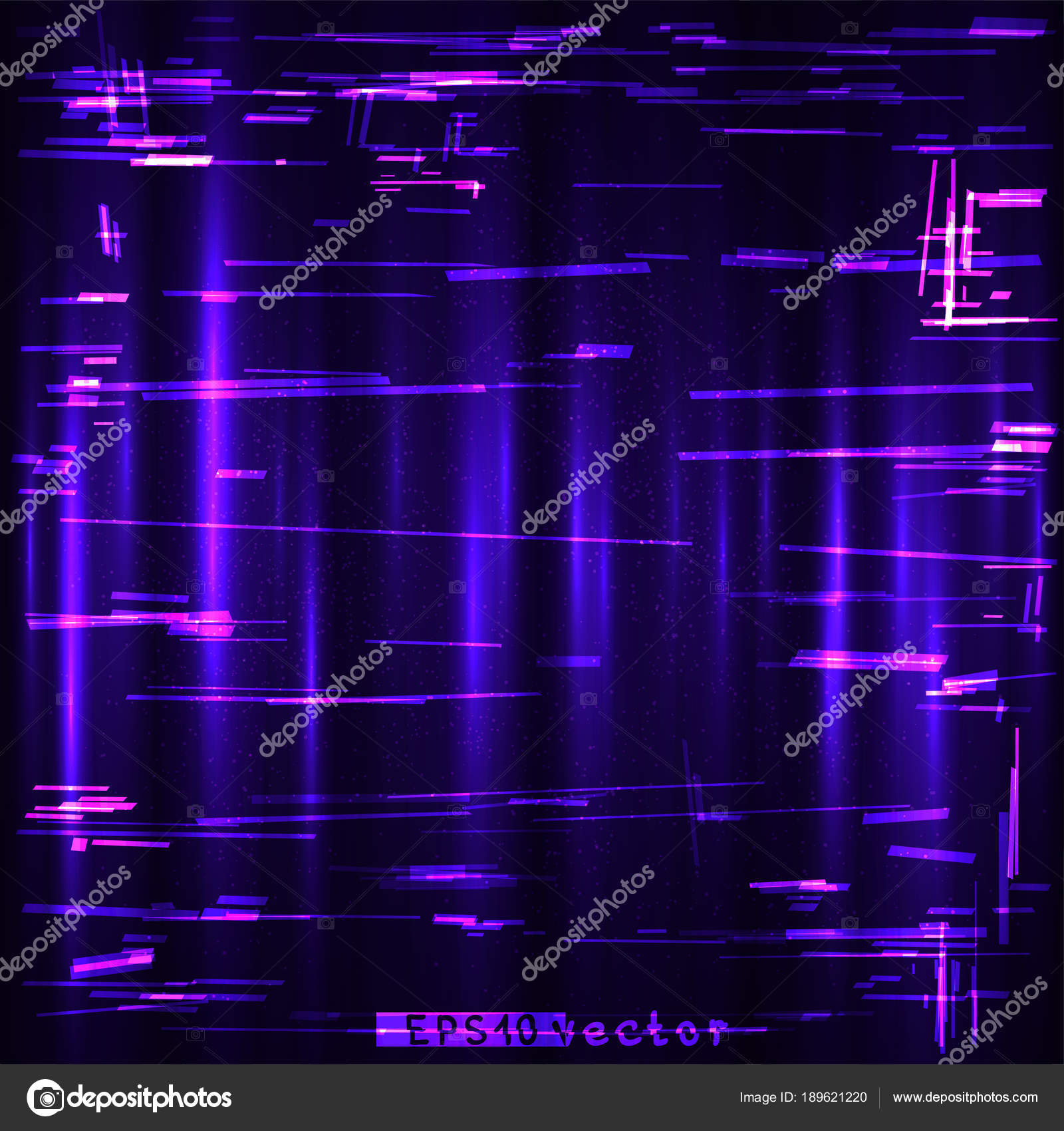 glitch blue purple pink design template stock vector romvo79