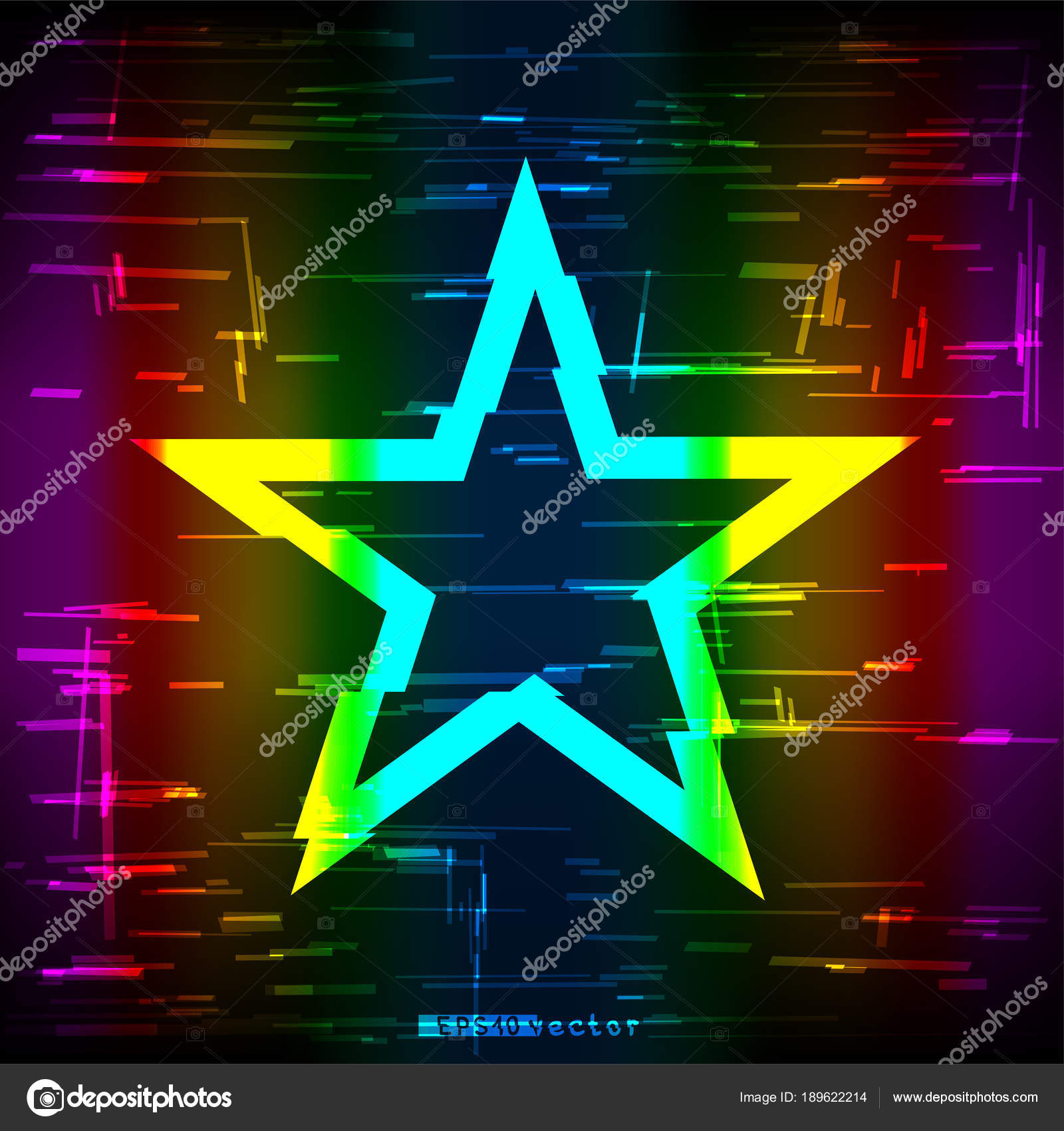 glitch rainbow star shape template stock vector romvo79 189622214