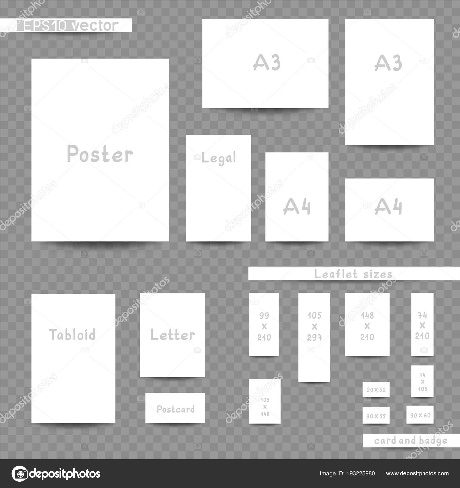 Tamaños De Impresión Blanco Anuncio Conjunto Archivo Imágenes