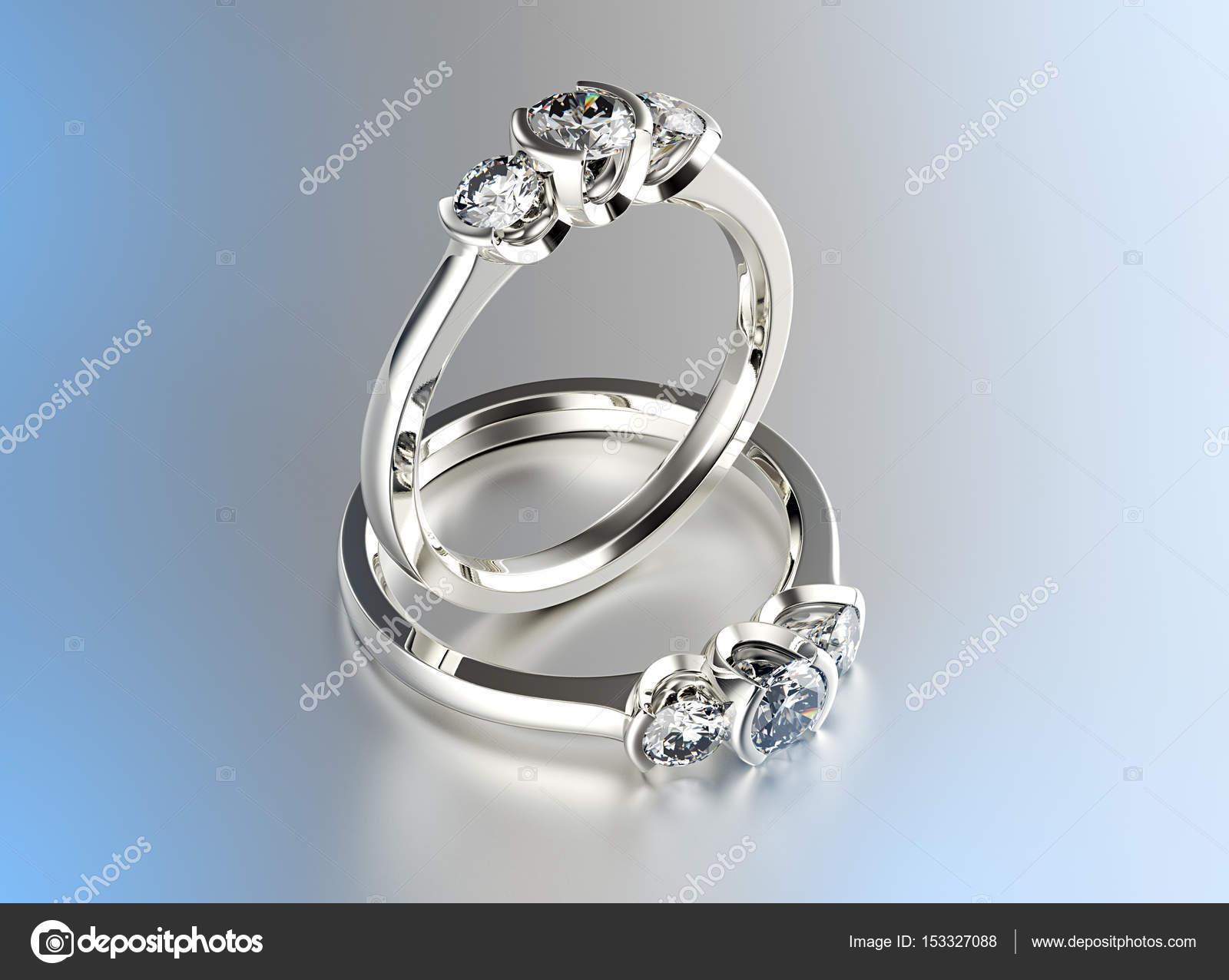 3D-Illustration Gold Ring mit Diamant. Schmuck-Hintergrund ...
