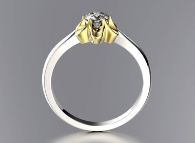 3D illustration of gold Ring with Diamond. Jewelry background