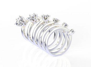 Ring with Diamonds. Jewelry background. Fashion luxury accessori