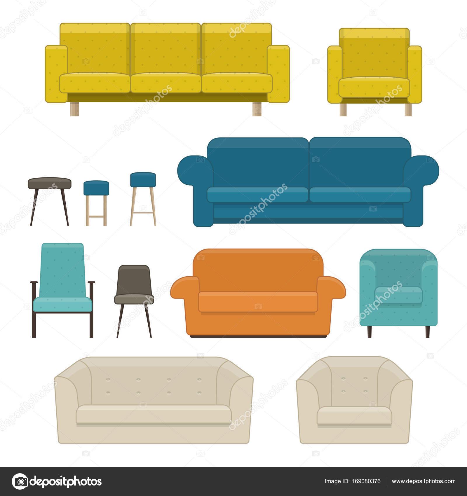Satz von Wohnzimmermöbel. Sofa, Sessel und Stuhl — Stockvektor ...