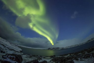 Northern Lights on the Kola Peninsula. Teriberka, Murmansk regio