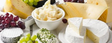 Delicious cheese  with grapes