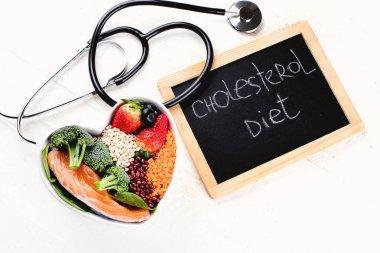 Cholesterol diet. Healthy food concept.