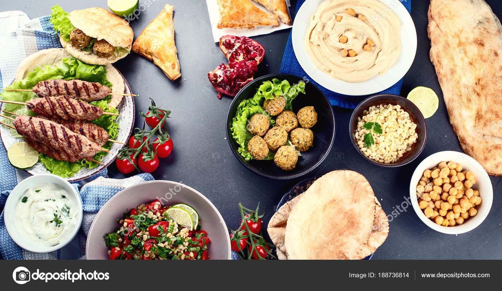 Selection Arabic Food Middle Eastern Cuisine Halal Food Top View ...