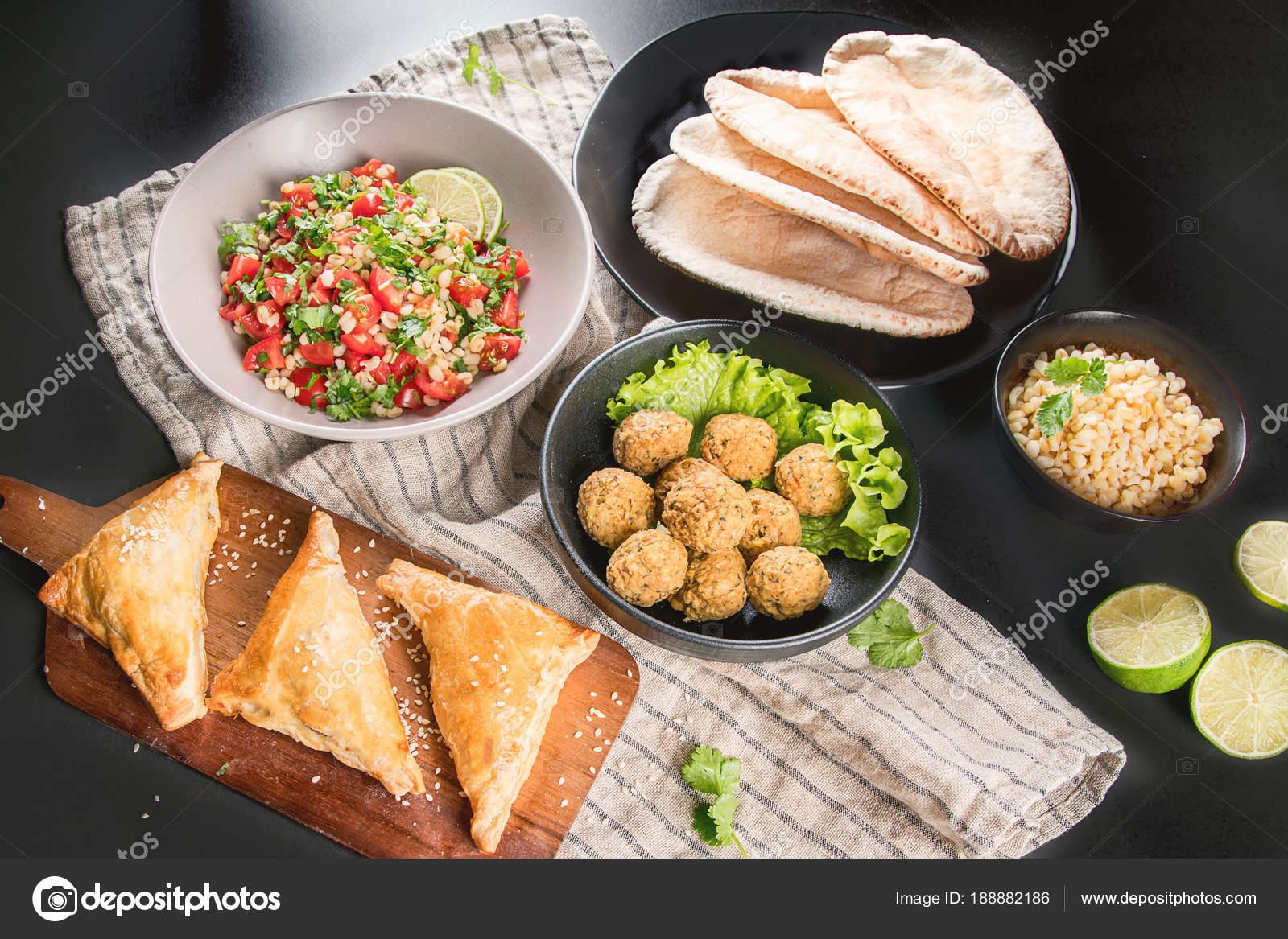 Auswahl Arabischen Speisen Küche Des Mittleren Ostens Halal ...