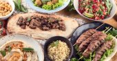 Photo Traditional turkish cuisine. Top view. Middle Eastern food