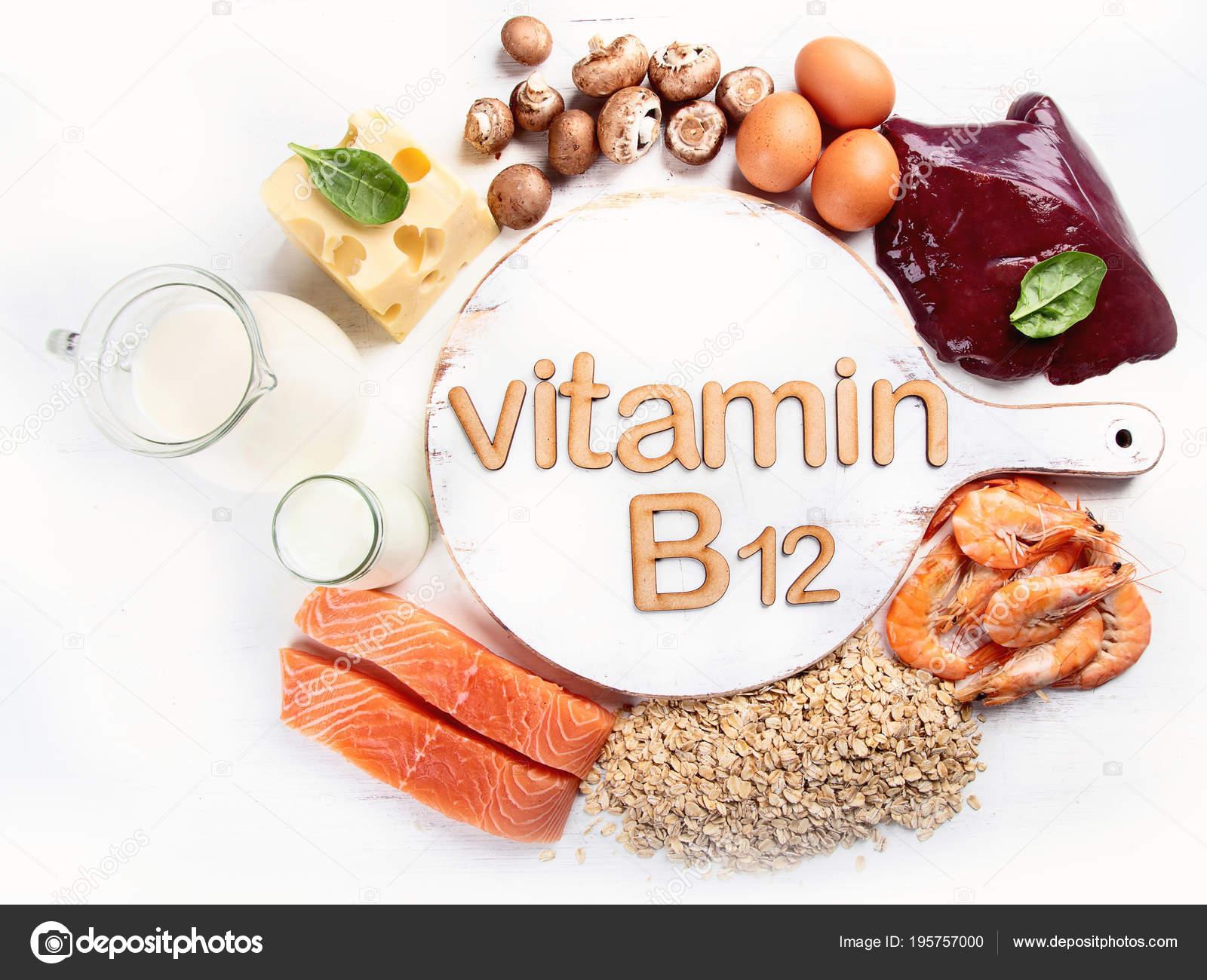 Collection Foods Highest Vitamin B12 Cobalamin Stock Photo