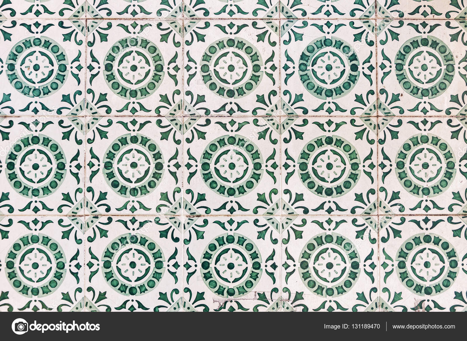 Typical Portuguese Old Ceramic Wall Tiles Azulejos In Lisbon