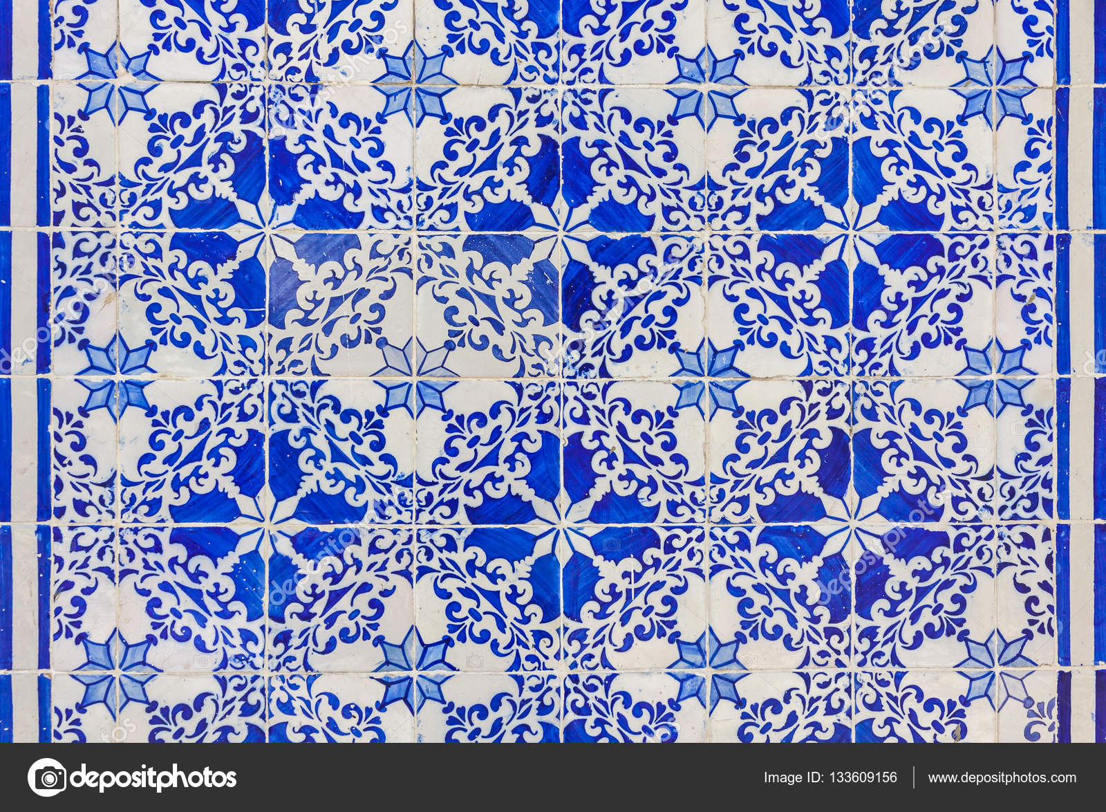 Typical Portuguese old ceramic wall tiles (Azulejos) in Lisbon ...