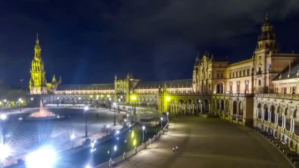 Night Panorama of Plaza de Espana in Seville, Spain