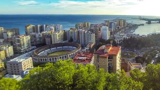 Panoramic aerial view of Malaga city, Andalusia, Spain