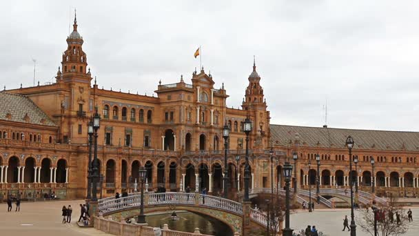Panorama of Plaza de Espana in Seville, Andalusia, Spain