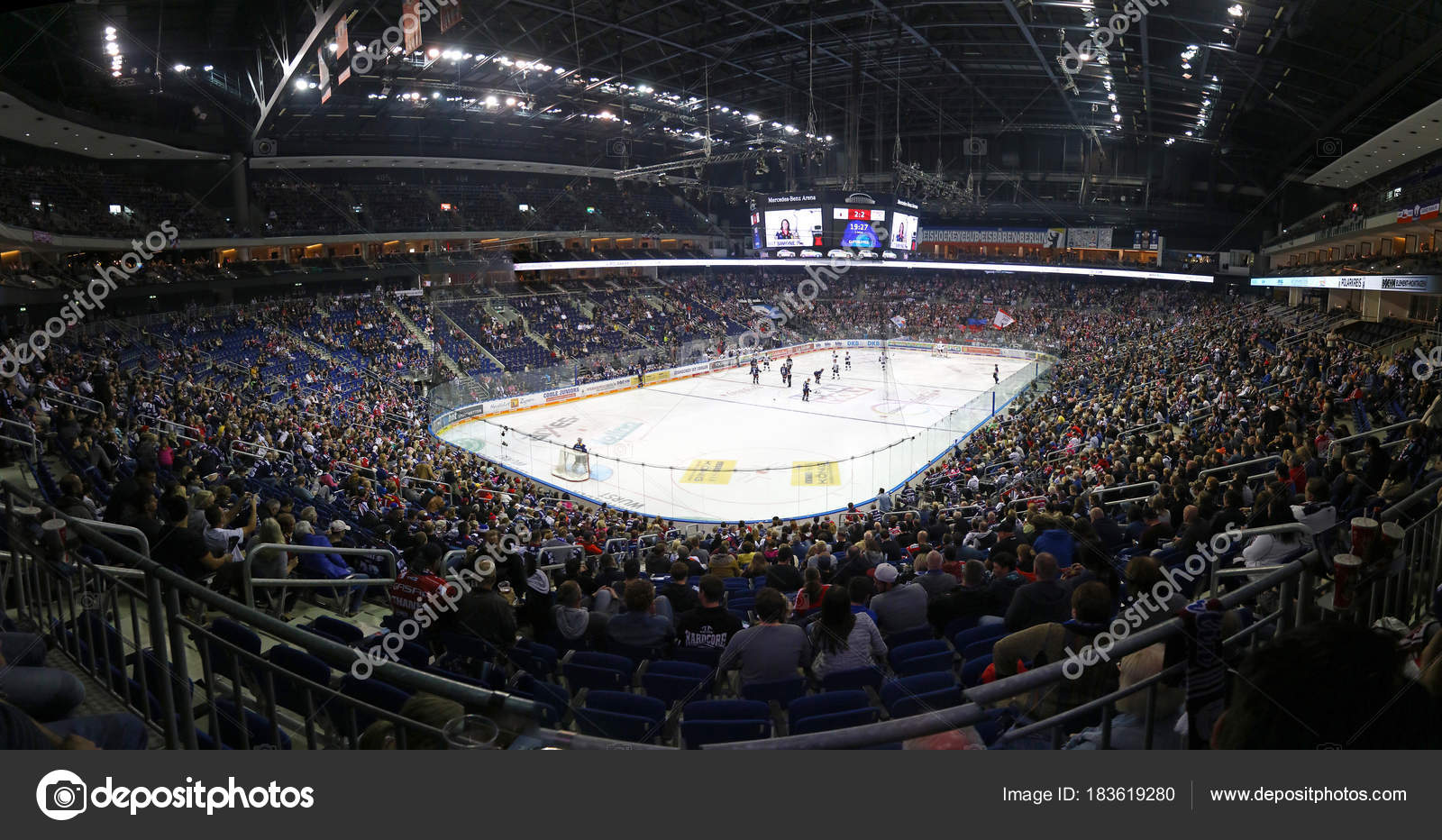 mercedes benz arena in berlin during ice hockey game. Black Bedroom Furniture Sets. Home Design Ideas