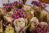 Fresh roses bouquet with other flowers