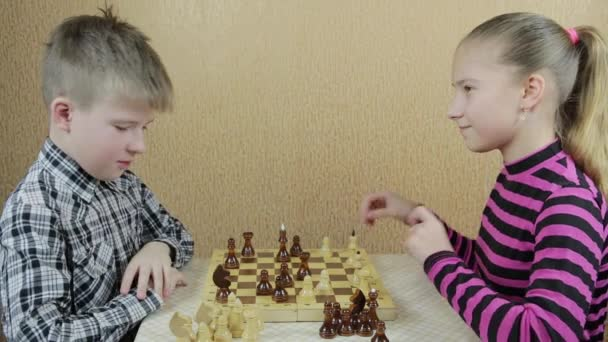 Funny Teenagers Brother Sister Emotionally Play Chess Making