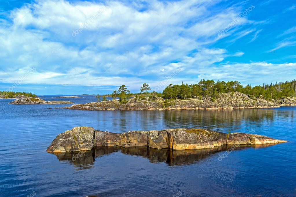 Small islands in the Ladoga skerries, Karelia, Russia.